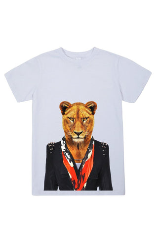 kids lioness t shirt white