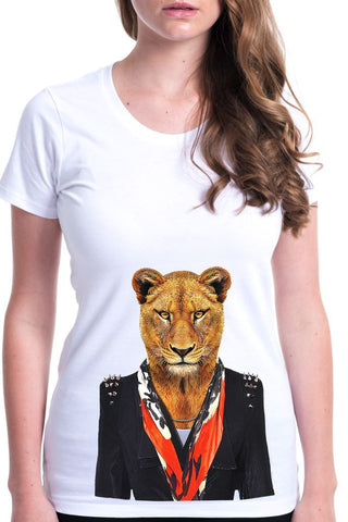 women's lioness t-shirt white