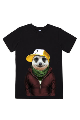 kids meerkat t shirt black