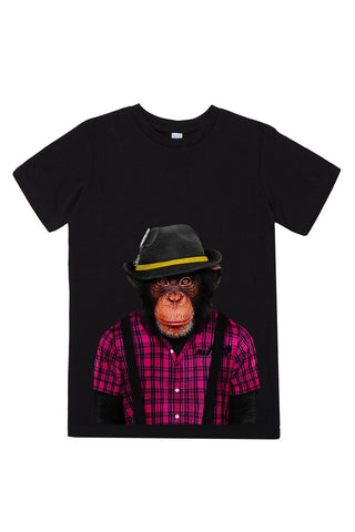 kids monkey male t shirt black