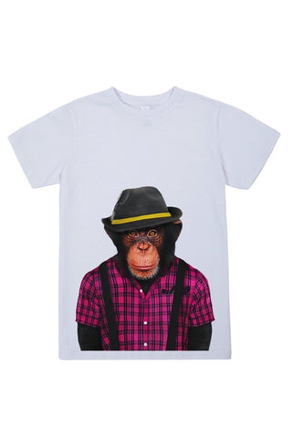 kids monkey male t shirt white