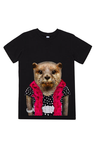 kids otter t shirt black