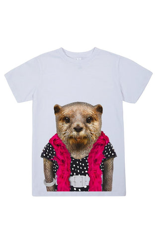 kids otter t shirt white