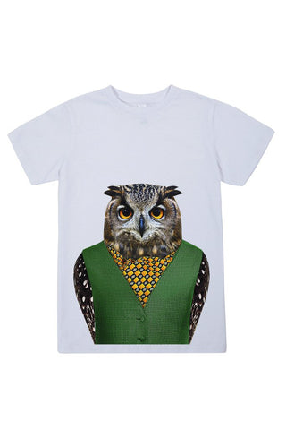 kids owl t shirt white