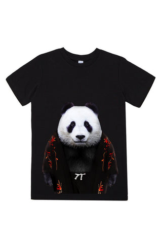 kids panda t shirt black