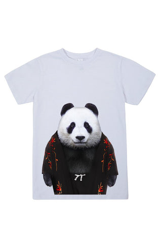 kids panda t shirt white