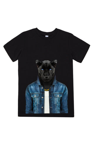 kids panther male t shirt black