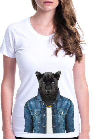 women's panther male t-shirt white