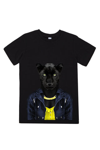 kids panther female t shirt black