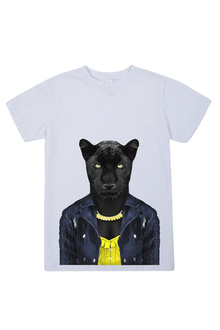 kids panther female t shirt white