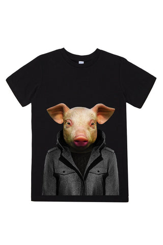 kids pig t shirt black