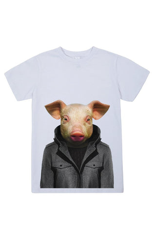 kids pig t shirt white