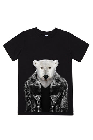 kids polar bear t shirt black