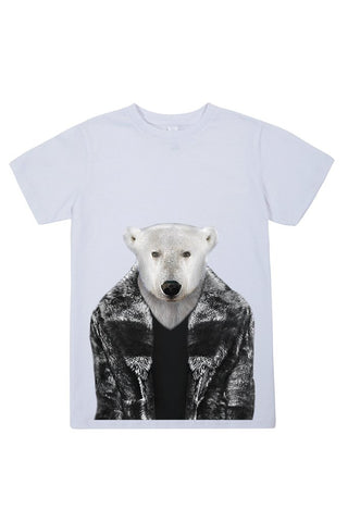 kids polar bear t shirt white