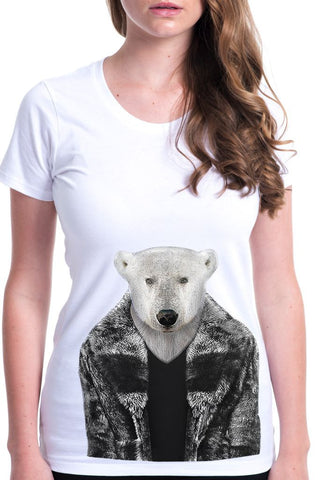 women's polar bear t-shirt white