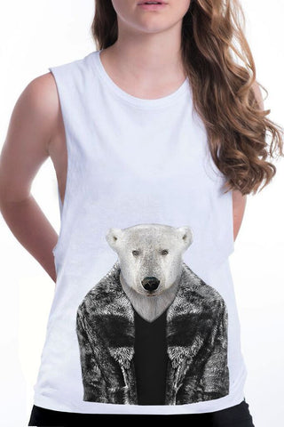 women's polar bear boyfriend tank white