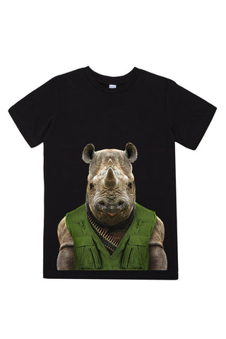 kids rhino t shirt black