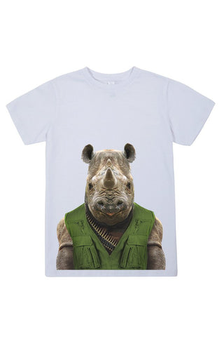 kids rhino t shirt white