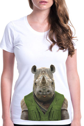 women's rhino t-shirt white