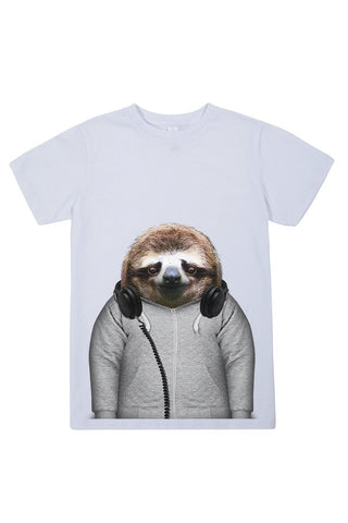 kids sloth t shirt white