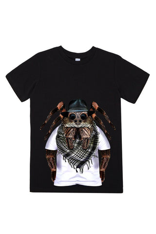 kids spider t shirt black