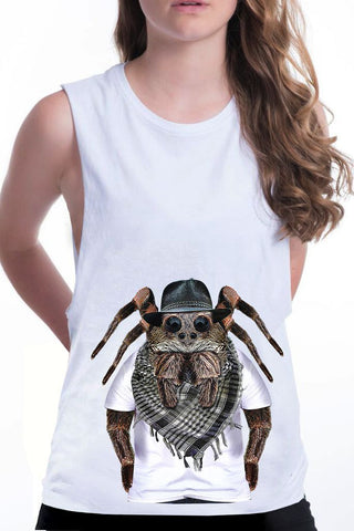 women's spider boyfriend tank white