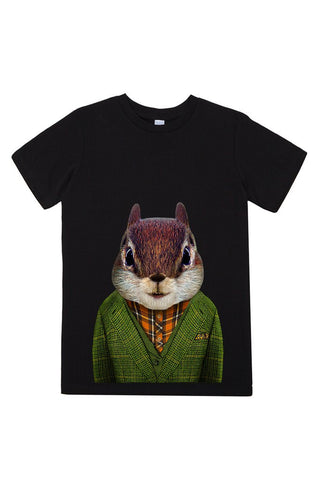 kids squirrel t shirt black