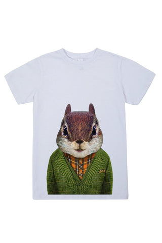 kids squirrel t shirt white