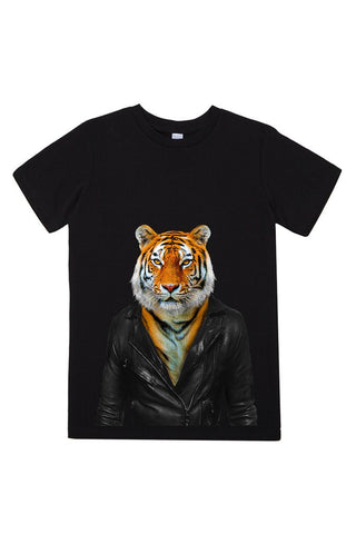 kids tiger t shirt black