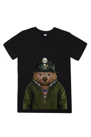 kids wombat t shirt black