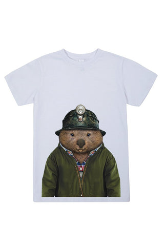 kids wombat t shirt white