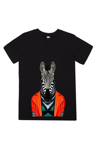 kids zebra t shirt black