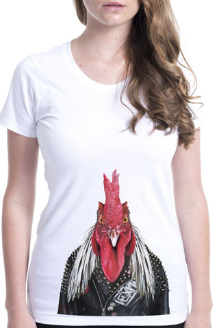 women's rooster t-shirt white