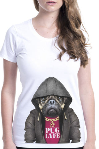 women's pug dog male t-shirt white