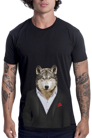 Men's Wolf T-Shirt - Classic Tee, Black