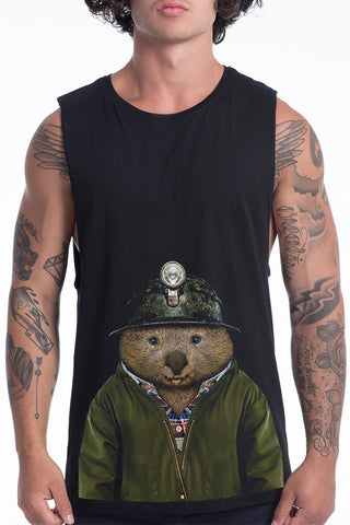 Men's Wombat Muscle Tank, Black