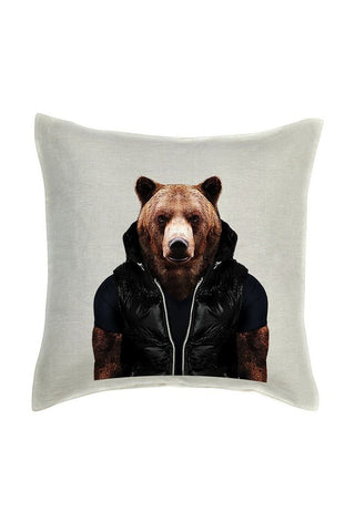 Bear Cushion Cover - Linen