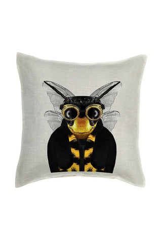 Bee Cushion Cover - Linen