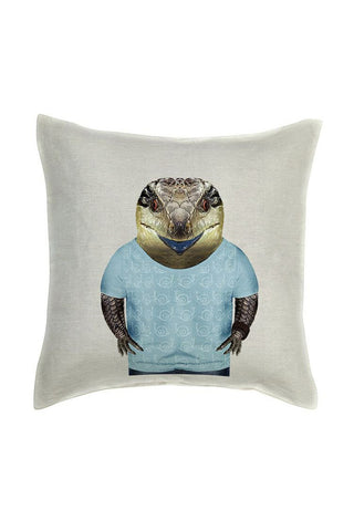 Blue Tongue Lizard Cushion Cover - Linen