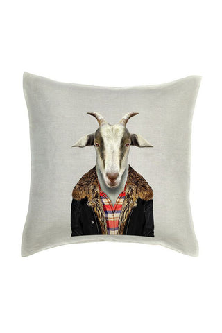 Goat Cushion Cover - Linen