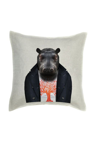 Hippo Cushion Cover - Linen