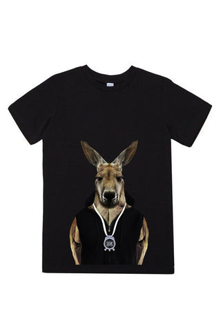 kids kangaroo t shirt black