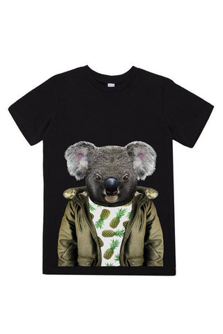 kids koala t shirt black