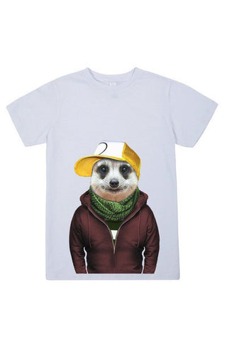 kids meerkat t shirt white