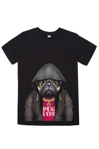 Kids Pug Lyfe T-Shirt - Kid's Tee, Black