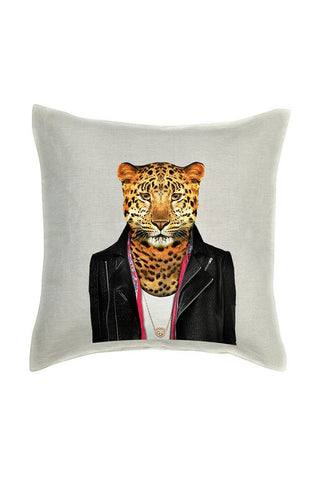 Leopard Cushion Cover - Linen