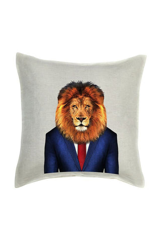 Lion Cushion Cover - Linen