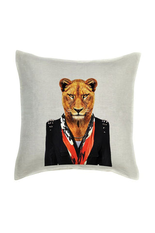 Lioness Cushion Cover - Linen