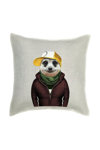 Meerkat Cushion Cover - Linen