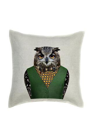 Owl Cushion Cover - Linen